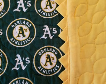 A's baseball team QUILTED Table Runner