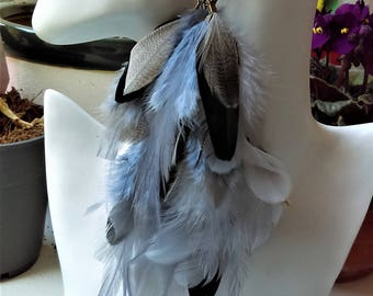 Handmade gray Feather Earring
