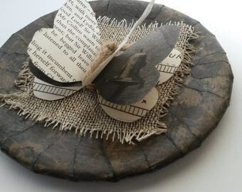 Decoupaged Butterfly Plate, Recycled Book Pages, Butterfly Decoration