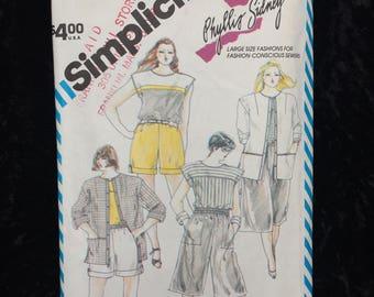 Women's Plus-Size Shorts Culottes Top and Cardigan Jacket Simplicity Vintage Pattern 6342, Unused, Women's, Plus Size, Size 24- 1984