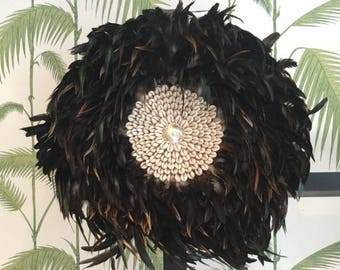 Juju hat in black rooster feathers