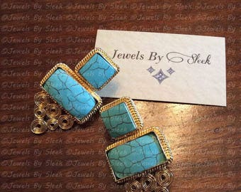 Turquoise wire work earrings