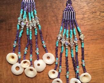 Purple and teal Puka shell earrings