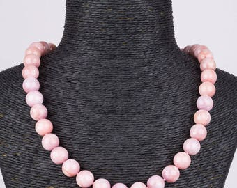 12 mm Kunzite Beaded Necklace handmade only one available for sale. pink kunzite necklace stone necklace kunzite jewelry healing crystal