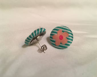Flower Fabric Button Stud Earring, Blue or Pink
