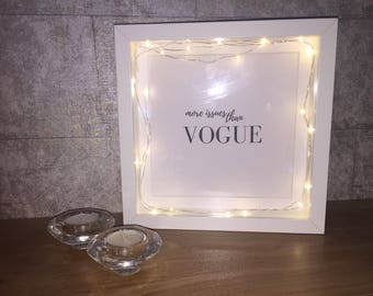 Handmade deep box frame with fairy lights - 'more issues than Vogue' - home decoration