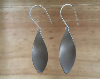 Long Silver Earring with matte rhodium pendant
