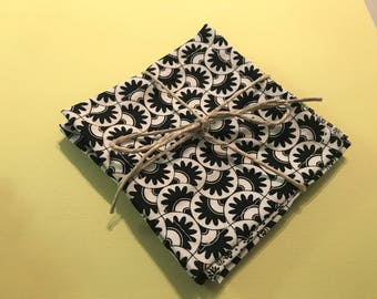 Black & white designer fabric coasters, set of 4