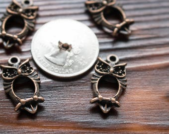 Copper Owls Charms, metal alloy