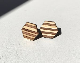 Rob's Table Earrings | Striped Hexagon Studs