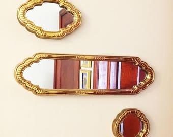 Gold Moroccan Mirrors, Set of Three
