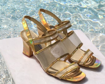 Metallic Mesh Multistrap Sandals / 90s Vintage / US 7.5