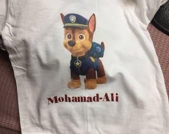Paw patrol birthday shirts with custom name