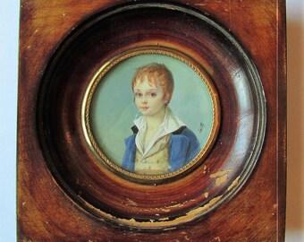 Antique French Miniature Painting Gouache XIX century