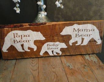Three Bears Papa Bear Mama Bear, Baby Bear rustic reclaimed wood sign nursery decor child's room decor baby shower gift home decor