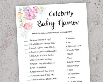 Celebrity Baby Name Game, Printable Baby Shower, Celebrity Baby Name Match, Baby Shower Games, Pink Baby Shower, DIY Printable Shower,  PF5