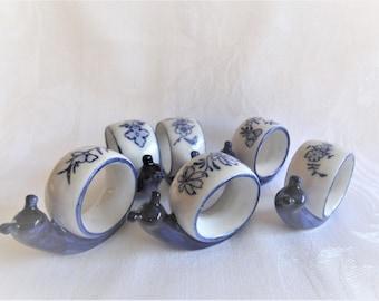 Set of vintage French ceramic napkin rings