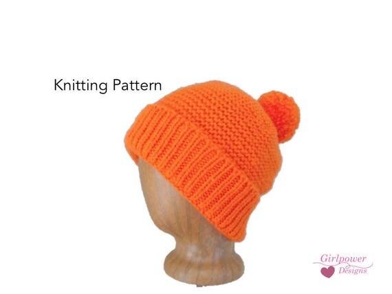 Pom Pom Yarn Knitting Patterns : Pom Pom Hat with Brim, Easy Knit Pattern, Kids Teens Women Men, Knitting Patt...