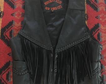 Vintage Leather Biker Vest With Fringe, Braided Details, Women's Medium