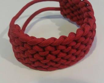 8 Inch Adjustable Paracord Survival Bracelet Conquistador Weave Red