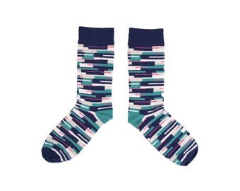 Colourful cotton socks with Colour Block print