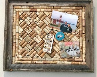 Wine cork bulliten board in Barnwood frame, rustic home decor, wine lover gift