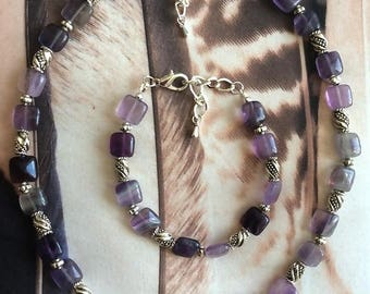 Rainbow fluorite bracelet, necklace or as a set