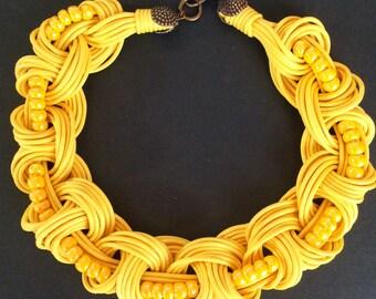 Yellow braided Choker