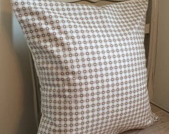 Taupe gingham heart cushion. Complete with feather inner