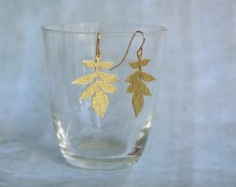 floral earrings / Petite leaves earrings / brass hand work / botanical