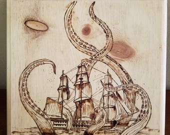 Wood burned pirate ship