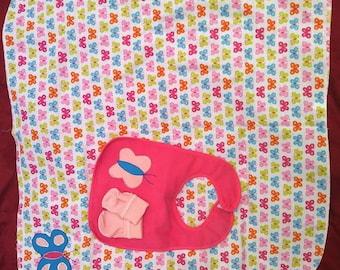 baby layette set--blanket, bib, socks