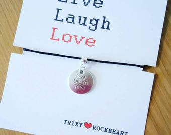 Live Laugh Love Quote Pendant Black Satin Chord Necklace. Lovely gift or fashion accessory.