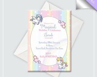 Unicorn Birthday Invitation x10