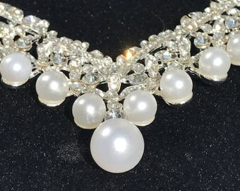 Bridal Necklace Set Pearl And Austrian  Crystal
