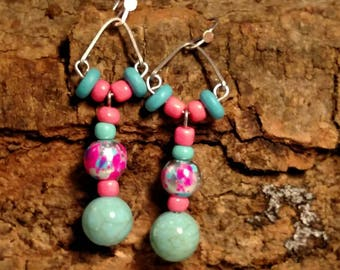 Turquoise Pink Dangle Earrings Lampworks Beads Accented With Wood Spacers