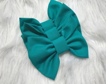 Girls Hair Bows, Turquoise hair bow, 4 inch hair bows, big hair bows, boutique bows, large hair bows, girl hair bows, toddler