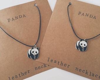 Black Leather Panda Necklace