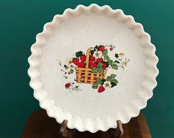 Vintage Strawberry Pie Plate - strawberry design - ceramic pie plate - designed by Cindy Sims