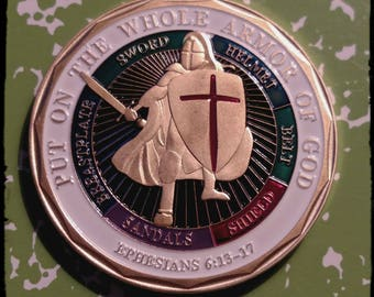 Navy Military Put on the Whole Armor of God Colorized Challenge Art Coin