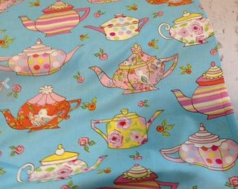 Tea Time Teapots Fabric - Twiddlywinks Cotton Fabric -  Free Spirit Cotton Fabric - Dena Designs