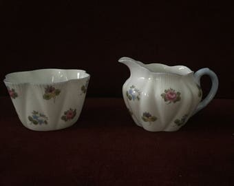 Shelley China Rosebud Creamer & Sugar