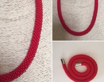Handmade bead crocheted necklace