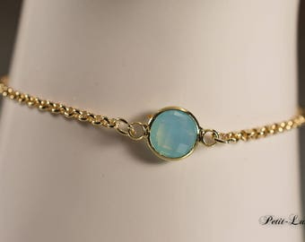 Faceted glass turquoise on gold plated sterling