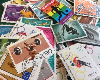 Vintage postage stamps (set of 50+)- topical collection- various Olympic stamps- off paper