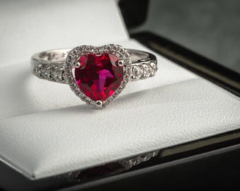 Forever in love 925 sterling silver simulated ruby ring