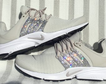 crystal Nike Air Presto Bling Shoes with Swarovski Crystals Women's Running Shoes Light Bone