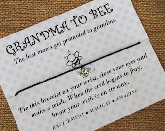 Grandma to Be Gift, Grandma Gift, Grandma Jewelry,Wish Upon Your Wrist, Wish Bracelet, Grandma Bracelet, Bee Jewelry, Bee Bracelet