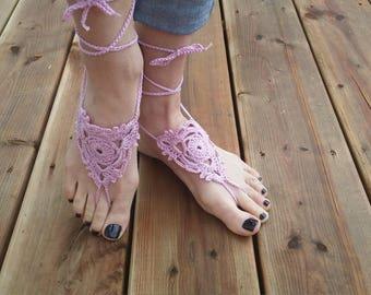 Crochet barefoot sandals - Pink