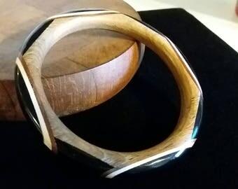 Wooden Bangle Bracelet w/ Black and white Painted Design Vintage Boho Tribal Jewelry